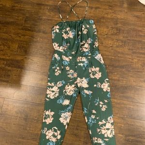 Zara Basic Green Floral Jumpsuit, never worn!